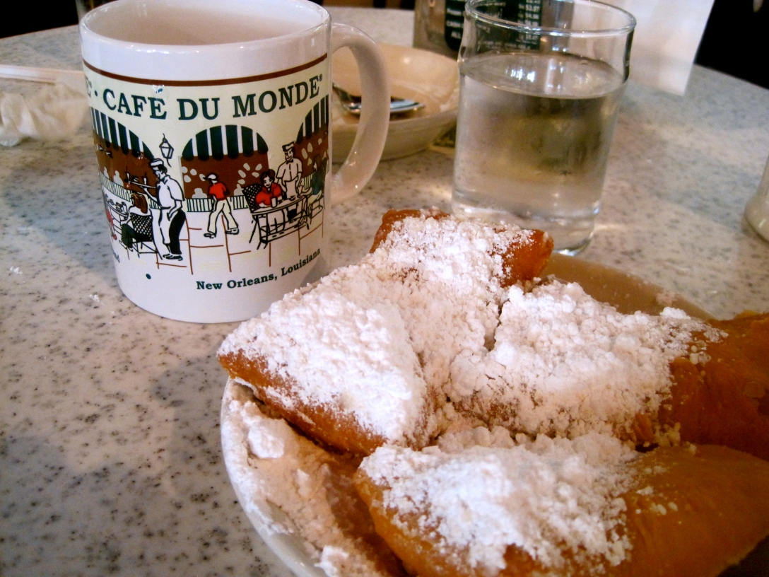 Beignets at Cafe Du Monde in New Orleans, Lousiana