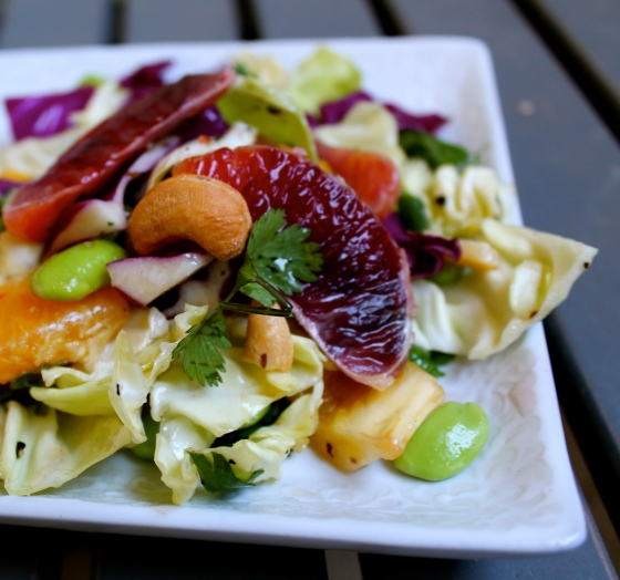 Blood Orange, Cabbage, Edamame Salad