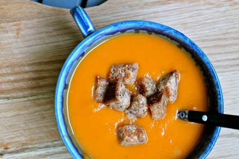 Sweet Potato Bisque with Brown Butter Croutons