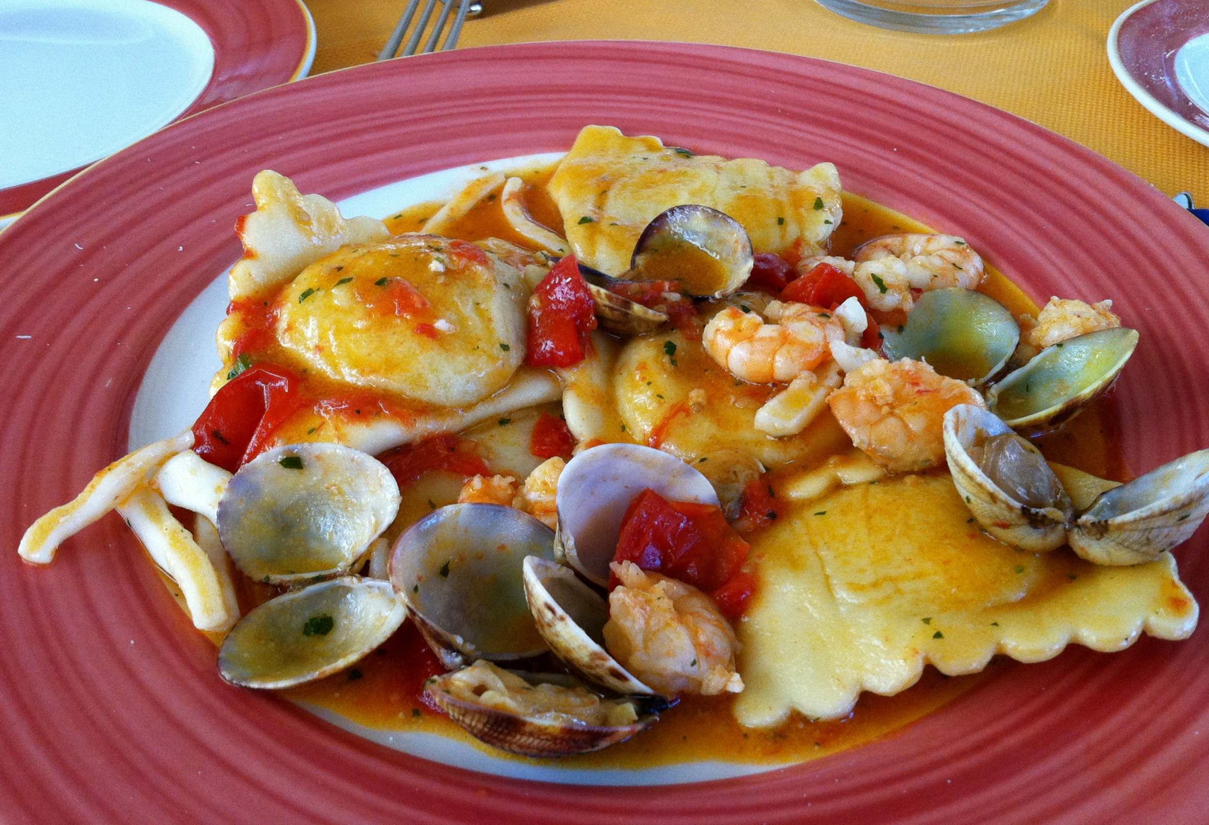 Ravioli with clams, shrimp, and calamari. O dio mio!