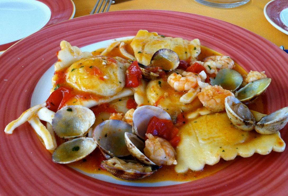 Ravioli with clams, shrimp, and calamari. O dio mio!
