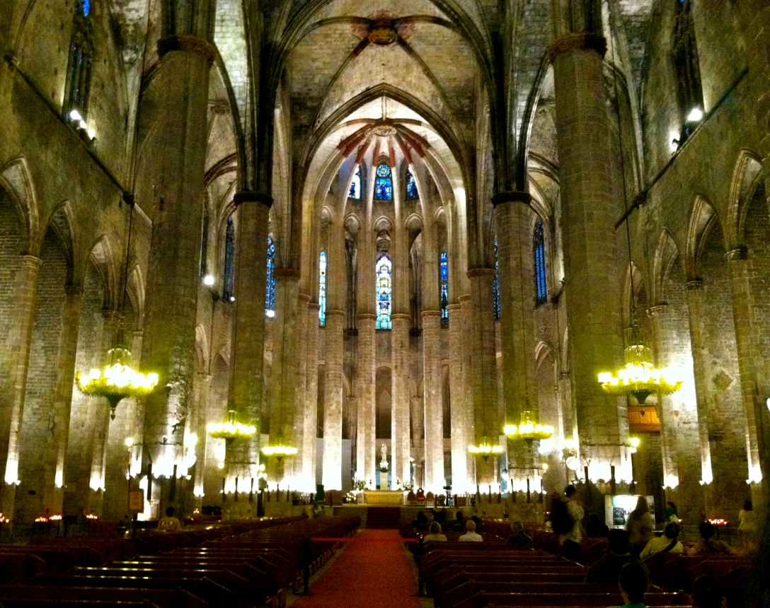 One of the many beautiful cathedrals in Barcelona, Spain