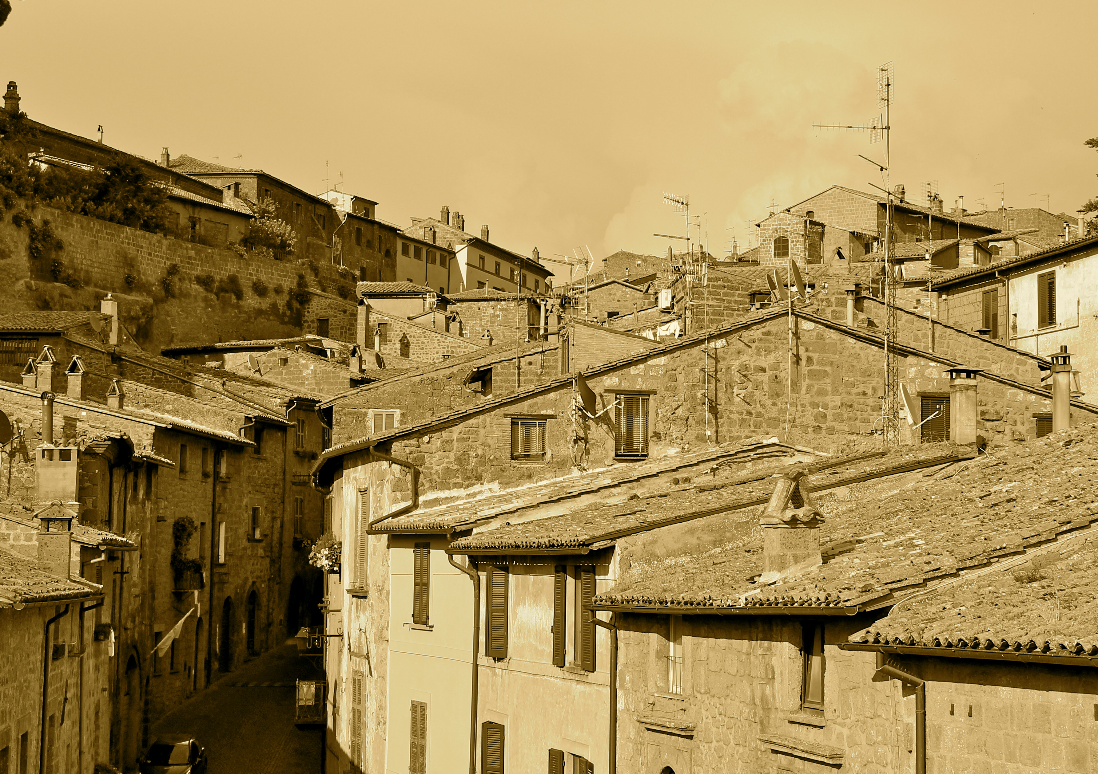 Orvieto, Italy in sepia